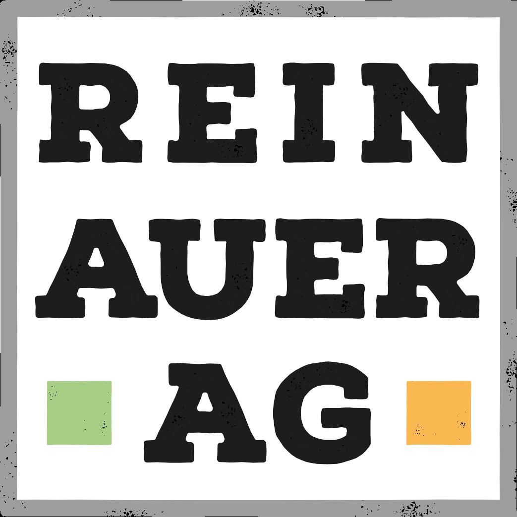 Logo der REINAUER|AG, quadratisch, grau eingerahmt, Schrift schwarz, REIN,darunter AUER, darunter AG